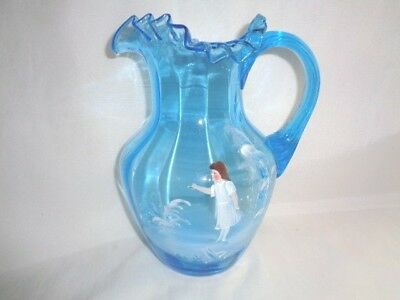 Antique Victorian Ice Blue Water Pitcher-H/p Mary Gregory