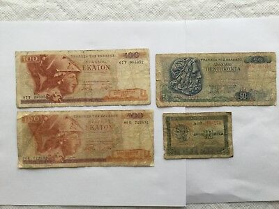 Starting 1940 Greece a Lot of 4 Value Banknotes