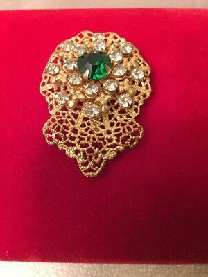 Vintage Beautiful Gold Filigree Brooch Pin With Emerald And Crystal Rhinestones