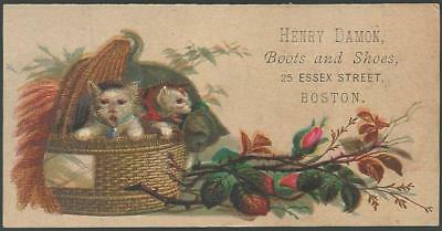 Victorian Trade Card for Henry Damon Boots and Shoes With Basket of Kittens