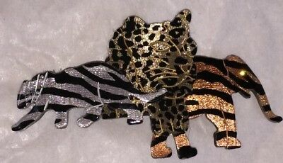 Vintage JUNGLE ANIMAL Elephant Leopard HAIR BARRETTE Made in France
