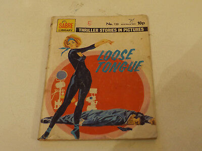 SABRE THRILLER PICTURE LIBRARY,NO 130,1976 ISSUE,FAIR FOR AGE,42 yrs old,V RARE.