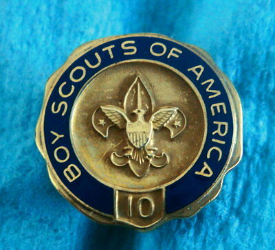 Vintage Service Award Pin Badge: BOY SCOUTS OF AMERICA; 10 Years