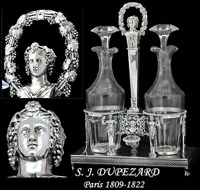 Dupezard: 1809 Figural French Sterling Oil & Vinegar with Crystal Decanters