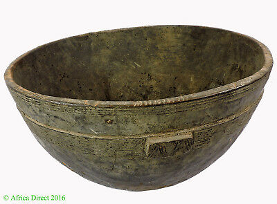 Hausa Wood Bowl Nigeria Engraved Brown African Art