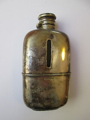 VINTAGE HIP FLASK SILVER PLATE AND GLASS, base separates to form cup