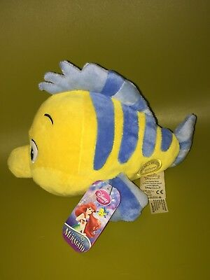 Bnwt Disney Store The Little Mermaid Flounder Fish Plush Toy - Official Stamped