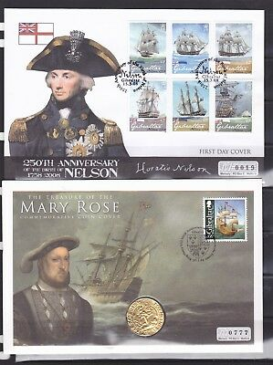 Gibraltar. 2 X Covers. Nelson & Mary Rose. With Coin.