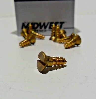 Midwest Fasteners #8 Slotted Solid Brass Flat Head Wood Screws 100ct Various szs