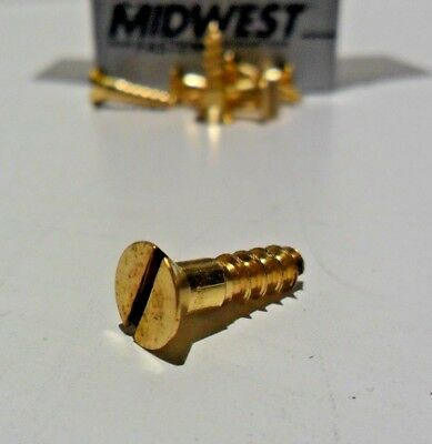 Midwest Fasteners #9 Slotted Solid Brass Flat Head Wood Screws 100ct Various szs