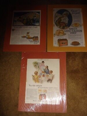 Lot of 3 1920's Advertisements Towle's Log Cabin Syrup