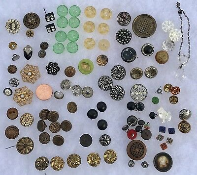 Huge Lot Of Antique Glass And Metal Buttons