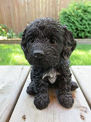 "Cockapoo Puppy Dog Figurine Statue Resin Pet 6"" H Sitting Ornament Black"