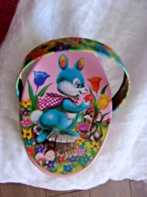vintage easter decoration bunny rabbit egg tulip pink container decor tin chick