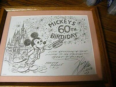 1794)Disney Mickeys 60th Birthday Charcoal Print Personalized Signed 1989 Framed