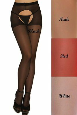 Plus Size Sheer Crotchless Pantyhose Hose Hosiery Women Open Back Stocking