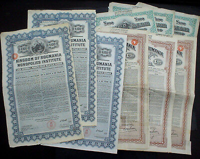 9 x Kingdom of Romania 7% 100 £ Sterling Gold 1922 + 1929 uncancelled + coupons