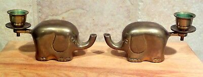 Pair of 2 BRASS ELEPHANT TAPERED CANDLE HOLDERS