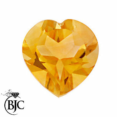 BJC® Loose Natural Yellow Citrine Love Heart Cut Stones Sizes 4mm - 11mm