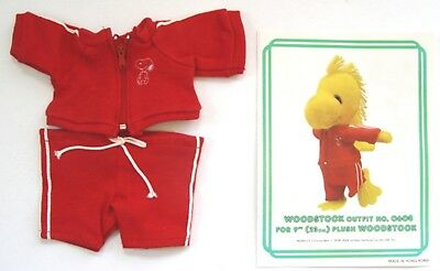 """1981 Peanuts Snoopy WOODSTOCK JOGGING OUTFIT #0608 for 9"""" PLUSH w/ Orig Brochure"""