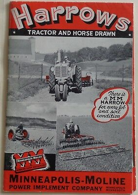 Minneapolis Moline Harrows Tractor and Horse Drawn 16 pg. Brochure