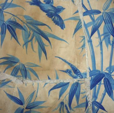 3 TIMEWORN FRAGMENTS 19th CENTURY FRENCH LINEN & COTTON TOILE , BIRDS BAMBOO