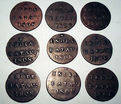 NETHERLANDS EAST INDIES, BATAVIAN REPUBLIC 1/2 DUIT 1808 x 9 Coins I4.5