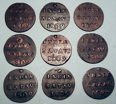 NETHERLANDS EAST INDIES, BATAVIAN REPUBLIC 1/2 DUIT 1809 x 9 Coins I4.5
