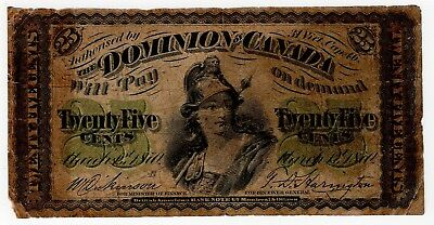1870 B Dominion Of Canada Twenty Five 25 Cent Shinplaster Bank Note Nice Bill