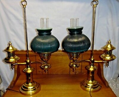 Pair Of Vintage Brass Electric Student Lamps w/ Green Glass Shades