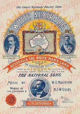 c.1903 AUSTRALIA THE WHITE MAN'S LAND NATIONALIST SONG CONTROVERSIAL A3 PRINT