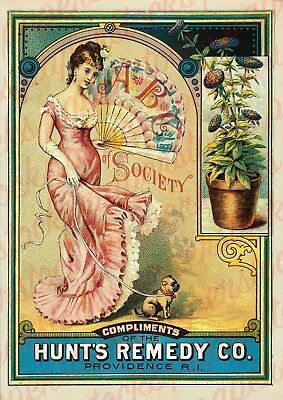 c.1800's 'HUNTS REMEDY CO' PROVIDENCE R.I BEAUTY HOUSEHOLD ADVERTISING A3 PRINT