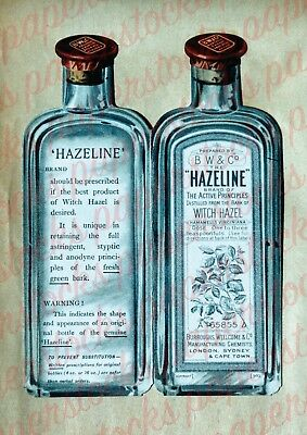 c.1800's 'HAZELINE' BURROUGHS WELLCOME BEAUTY HOUSEHOLD ADVERTISING A3 PRINT
