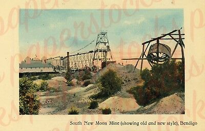 c.1900's 'SOUTH NEW MOON MINE ' BENDIGO A3 PRINT REAL PHOTO GOLD HISTORICAL