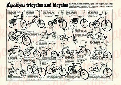 c.1950's CYCLOPS TRICYCLES & BICYCLES VINTAGE AUSTRALIAN ADVERTISEMENT A3 PRINT