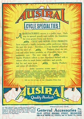 """c.1930's """"AUSTRAL BICYCLE & MOTORCYCLE"""" A3 PRINT HISTORICAL BICYCLE MELBOURNE"""