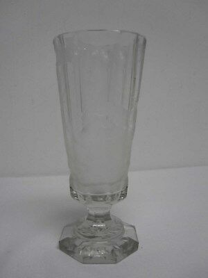 """ANTIQUE BOHEMIAN 7 1/4"""" FOOTED GOBLET with ETCHED DEER & ENGRAVED DEDICATION"""