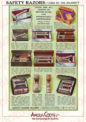 c.1930's ANGUS & COOTE SYDNEY RAZOR SELECTION GILLETTE ADVERTISING A3 PRINT