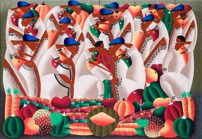 Haitian School - Signed Large Abstract Painting Figures & Fruit Oil Painting