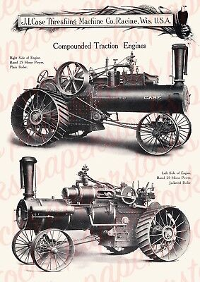 c.1900's J.I. CASE COMPOUNDED TRACTION ENGINE ANTIQUE ADVERTISING A3 PRINT