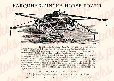 c.1880's FARQUHAR-DINGEE HORSE POWER IMPLEMENT ANTIQUE ADVERTISING A3 PRINT