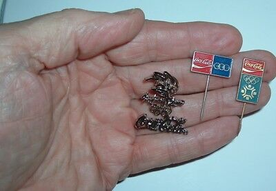Old Coca Cola Vintage Olympic Hat Pins Syndney coke pin RARE 3 Pins Free ship