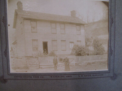 Vintage Antique Photograph Waterloo Ohio Lawrence County House View People OH