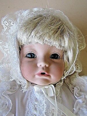"PORCELAIN BABY DOLL BLONDE HAIR BLUE EYES & STAND 36.8cm (14 1/2"")"