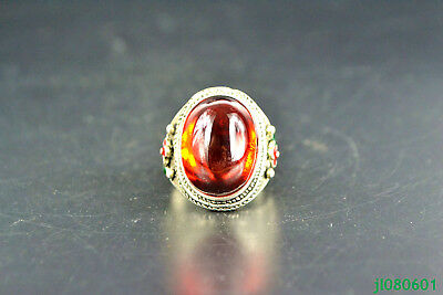 Collectible China tibet silver carve flower inlay red jade adjust nice Ring