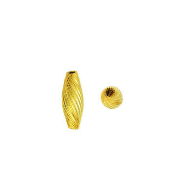 Vintage Metal Beads, Twisted Spiral Tube Beads 14x7mm, 24 Pieces, Yellow Brass