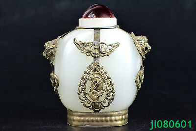 Collectible Old Jade Carve Tibetan silver inlaid butterfly leo big Snuff Bottle