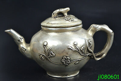 Collectible China Vintage Old Copper Silver Plate Tree Theme big Decor Teapot