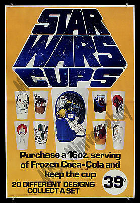 Star Wars Cups FROZEN COKE AMAZINGLY RARE '77 Coca Cola ADVERTISING Movie Poster