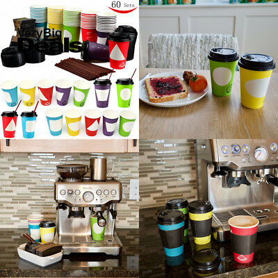 60 Coffee Cups with Lids , 12 Ounce Disposable Paper Coffee Cups with Lids ,...